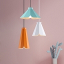 Single Head LED light Adjustable Ceiling Pendant in Blue/Orange/Green Finish