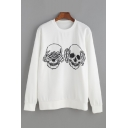 Round Neck Skull Printed Long Sleeve Sweatshirt