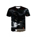 3D Cat Printed Round Neck Short Sleeve Leisure Tee