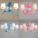 3/6 Lights Dolphin Island Chandelier Kids Room Fabric Suspension Light in Blue/Pink