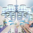 Blue Dolphin Island Chandelier Fabric 6 Lights Chandelier Ceiling Lamp for Boys Room