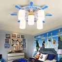 Ship Wheel 5 Lights Flush Mount Light Blue Glass Flushmount Ceiling Fixture for Boys
