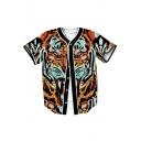 3D Tiger Printed V Neck Short Sleeve Button Down Baseball Tee