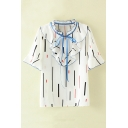 Chic Colorful Stripe Ruffle Trim Blouse with Bow Neck