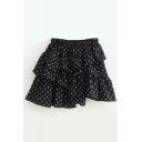 Stylish Polka Dot Printed Ruffle Mini Layered Skirt