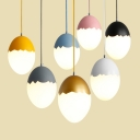 1 Light Egg Shape Pendant Light Macaron Staircase Bedroom White Glass Suspended Lamp
