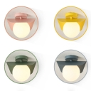 Metallic LED Ceiling Lamp with Globe Shade Macaron Colorful 1 Light Indoor Flush Mount Lighting