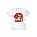 Fire Cat Letter Printed Round Neck Short Sleeve Tee