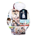 Digital Fashionable Cartoon Character Printed Long Sleeve Hoodie