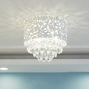 Living Room Crystal Flushmount Light Drum Shade Flush Mount Crystal Light in White