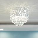 Living Room Crystal Flushmount Light Drum Shade Flush Mount Crystal Light in White