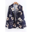 Floral Printed Notched Lapel Collar Long Sleeve Shirt