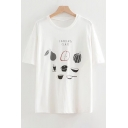 COOKING CLASS Letter Fruit Printed Round Neck Short Sleeve Leisure Tee