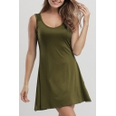Leisure V Neck Sleeveless Plain Mini A-Line Dress