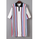 Color Block Striped Printed Button Placket Half Sleeve Midi Shift Dress