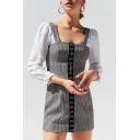 Button Front Plaid Printed Straps Sleeveless Mini Cami Pencil Dress