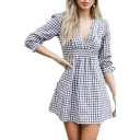 Plaid Printed V Neck 3/4 Length Sleeve Mini A-line Dress