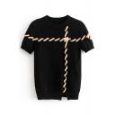 Drawstring Embellished Round Neck Short Sleeve Ribbed Sweater