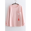Floral Embroidered Tassel Embellished Round Neck Long Sleeve Tee