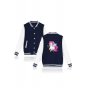 Unicorn Printed Contrast Striped Trim Color Block Long Sleeve Button Down Baseball Jacket