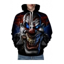 3D Terror Clown Printed Long Sleeve Unisex Hoodie