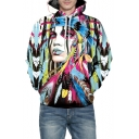 3D Graffiti Tribal Character Printed Long Sleeve Hoodie