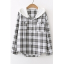 Contrast Hood Plaid Printed Long Sleeve Button Down Hooded Blouse