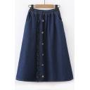 Elastic Waist Button Front Plain Midi A-Line Denim Skirt