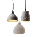 1-Light Cement Shade Restaurant Ceiling Pendant Light in Industrial Style 3 Designs for Choice