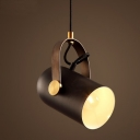 Black Finish Metal Cylinder Shade One Light Mini Pendant Light in Industrial Style