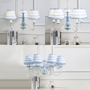 Sky Blue Stripes Chandelier Lighting Fabric 3/5 Lights Hanging Ornaments for Kids Room