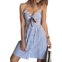 Spaghetti Straps Sleeveless Striped Printed Knotted Front Mini Cami Dress