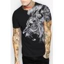 Digital Lion Printed Round Neck Short Sleeve Tee