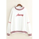 Contrast Striped AWAY Letter Printed High Neck Long Sleeve Sweatshirt