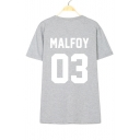 MALFOY 03 Letter Printed Round Neck Short Sleeve Tee