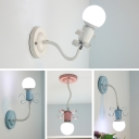 Lovely Ribbon Wall Light Colorful Nordic Girls Room Adjustable Metal 1 Light Sconce Lighting