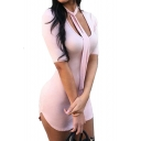 Sexy Scoop Neck Short Sleeve Plain Asymmetric Hem Mini Bodycon Dress
