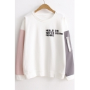 HOLD ON Letter Color Block Long Sleeve Round Neck Sweatshirt