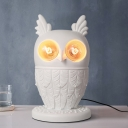 Resin 2-Light Lovely Owl Desk Lamp in White