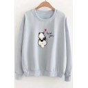 I MISS YOU Letter Panda Embroidered Round Neck Long Sleeve Sweatshirt