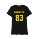 83 WINCHESTER Letter Printed Round Neck Short Sleeve Tee