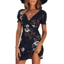 Hollow Out Back Floral Printed V Neck Short Sleeve Mini A-Line Dress
