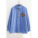 Colorful Buttons Coffee Cup Letter Bear Embroidered Lapel Collar Long Sleeve Button Down Shirt