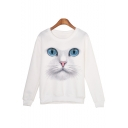 Digital Cat Face Printed Round Neck Long Sleeve Sweatshirt