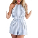 Striped Printed Hollow Out Back Spaghetti Straps Sleeveless Romper