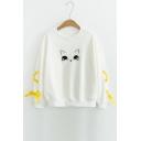 Cartoon Animal Embroidered Lace Up Detail Long Sleeve Sweatshirt