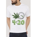 Clock Leaf Number Printed Round Neck Short Sleeve Tee