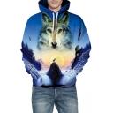 3D Wolf Waterfall Printed Long Sleeve Hoodie