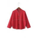 Stand Up Collar Contrast Stitching Long Sleeve Button Down Crop Jacket