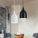Black/White Finish Modern Style One Bulb Ceiling Pendant for Coffee Shop